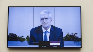 Apple CEO Tim Cook appearing by videoconference before the House Judiciary Committee in July. Photo by Bloomberg