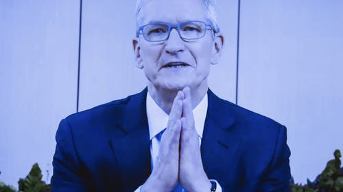 Apple CEO Tim Cook during a videoconference congressional committee hearing in late July. Photo by Bloomberg.
