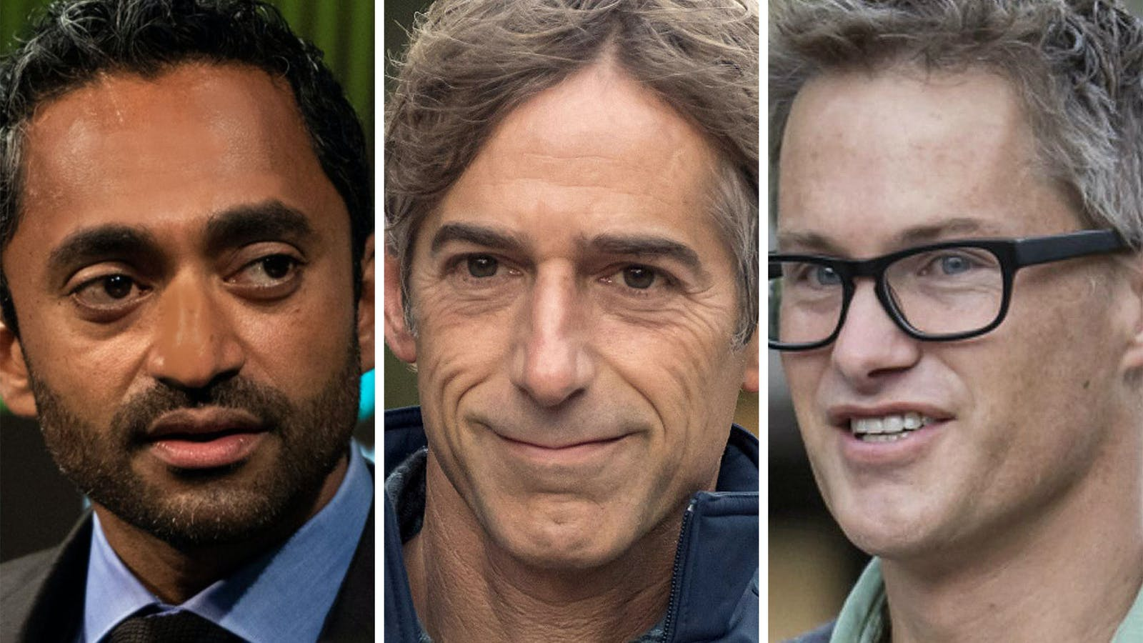 From left: Chamath Palihapitiya, Mark Pincus and Kevin Hartz. Photos by Bloomberg