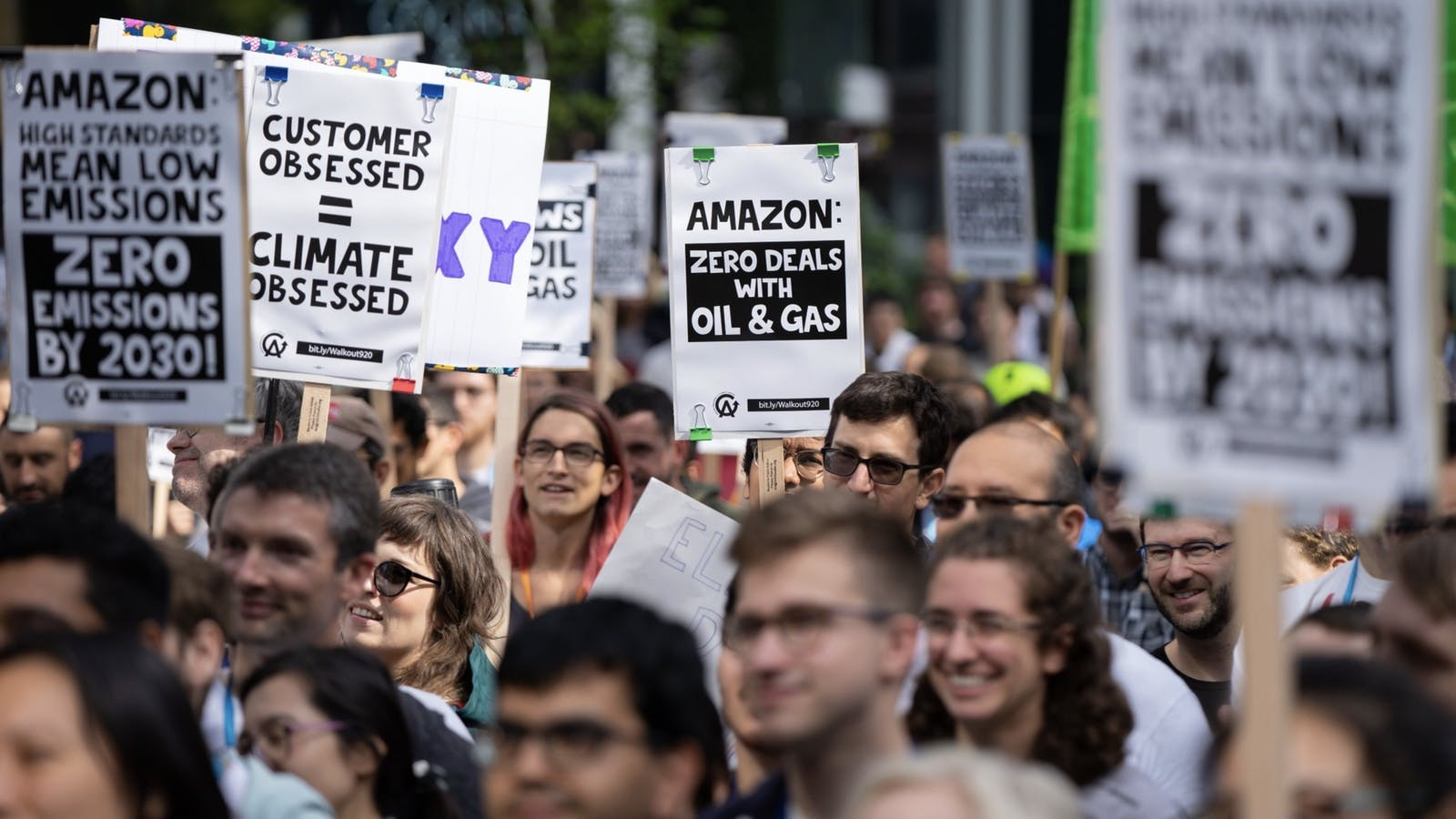 Amazon workers protesting the company over climate change last September. Photo by Bloomberg