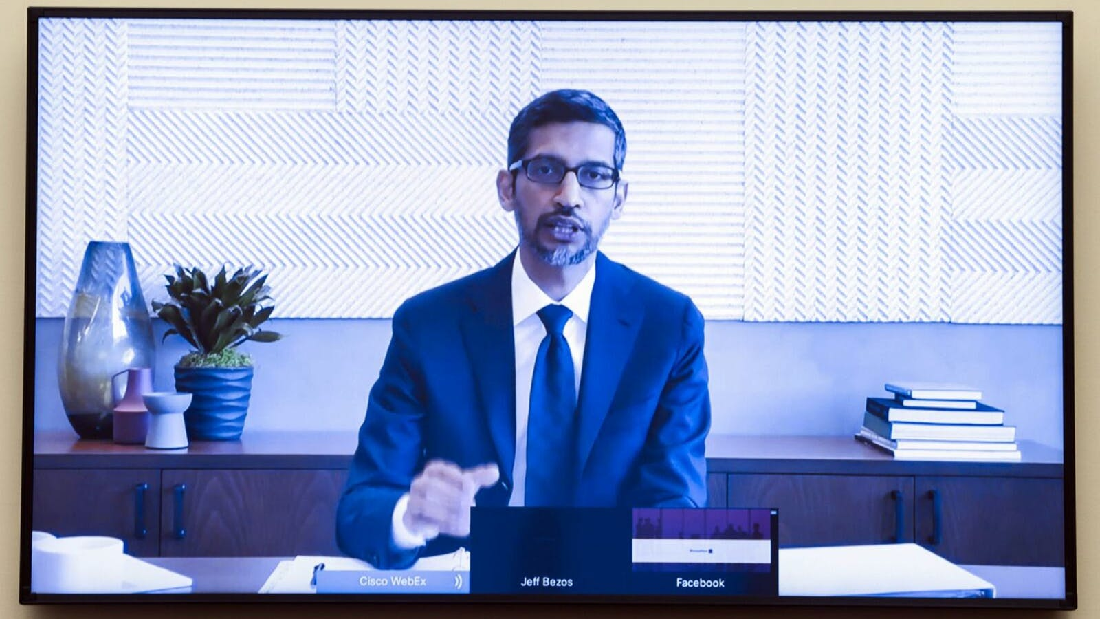 Alphabet CEO Sundar Pichai testifying at a congressional committee hearing late July. Photo by Bloomberg