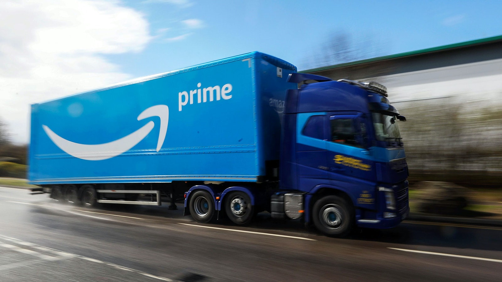 An Amazon Prime truck in the U.K. Photo by Bloomberg.