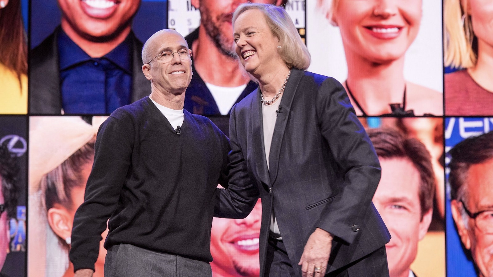 Quibi's Jeffrey Katzenberg and Meg Whitman unveiling the service earlier this year. Photo by Bloomberg.