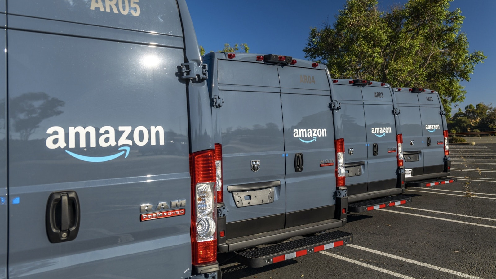 Amazon delivery trucks in Richmond, Calif. on Tuesday. Photo by Bloomberg
