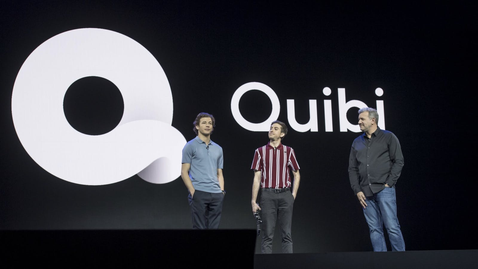 Actor Tye Sheridan, from left, with filmmaker Zach Wechter and Quibi chief product officer Tom Conrad during a keynote at CES in January. Photo by Bloomberg