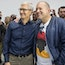 Apple CEO Tim Cook, left, and with then-Chief Design Officer Jony Ive in 2018. Photo: Bloomberg