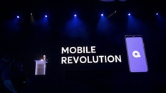 Jeffrey Katzenberg unveiling Quibi at CES earlier this year. Photo by Bloomberg