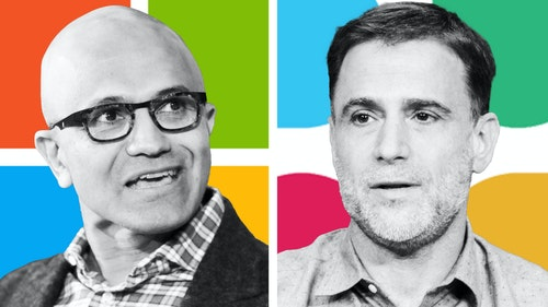 Microsoft CEO Satya Nadella, left, and Slack CEO Stewart Butterfield. Photos by Bloomberg