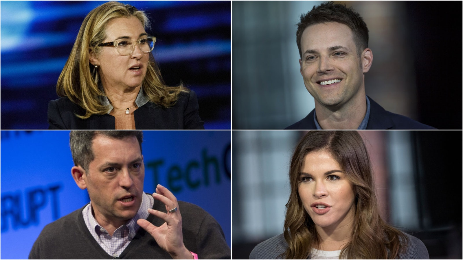 Clockwise from top left: Vice CEO Nancy Dubuc; Offerup CEO Nick Huzar; Glossier CEO Emily Weiss; Vox Media CEO Jim Bankoff. Photos by Bloomberg