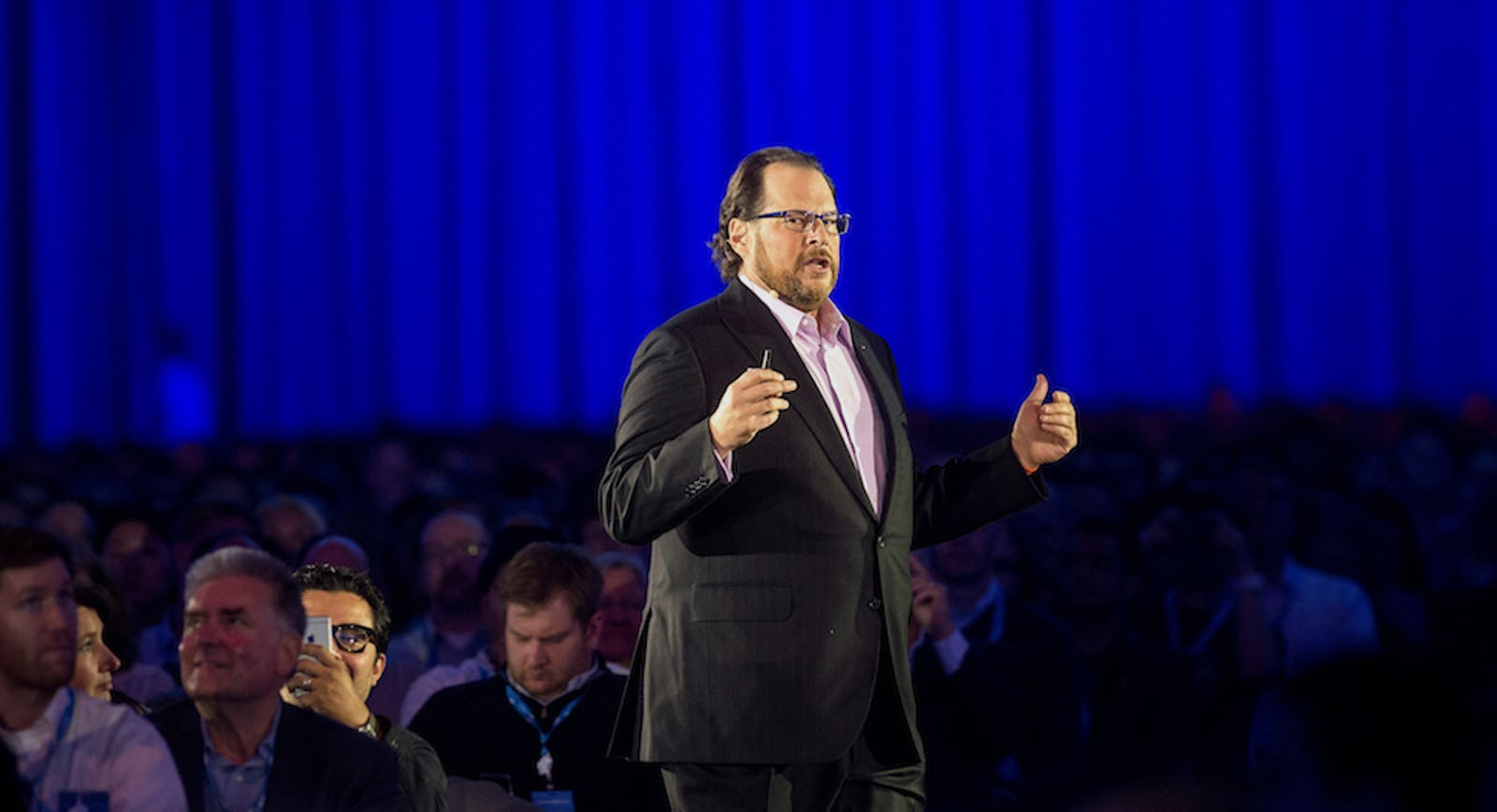 Salesforce CEO Marc Benioff at the company's Dreamforce in October. Photo by Bloomberg.