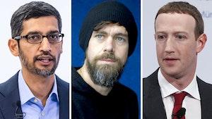 Google CEO Sundar Pichai, Twitter CEO Jack Dorsey and Facebook CEO Mark Zuckerberg (l-r). Photo: Bloomberg