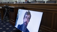 Twitter CEO Jack Dorsey speaking by videoconference to the Senate Commerce Committee on Wednesday. Photo by Bloomberg