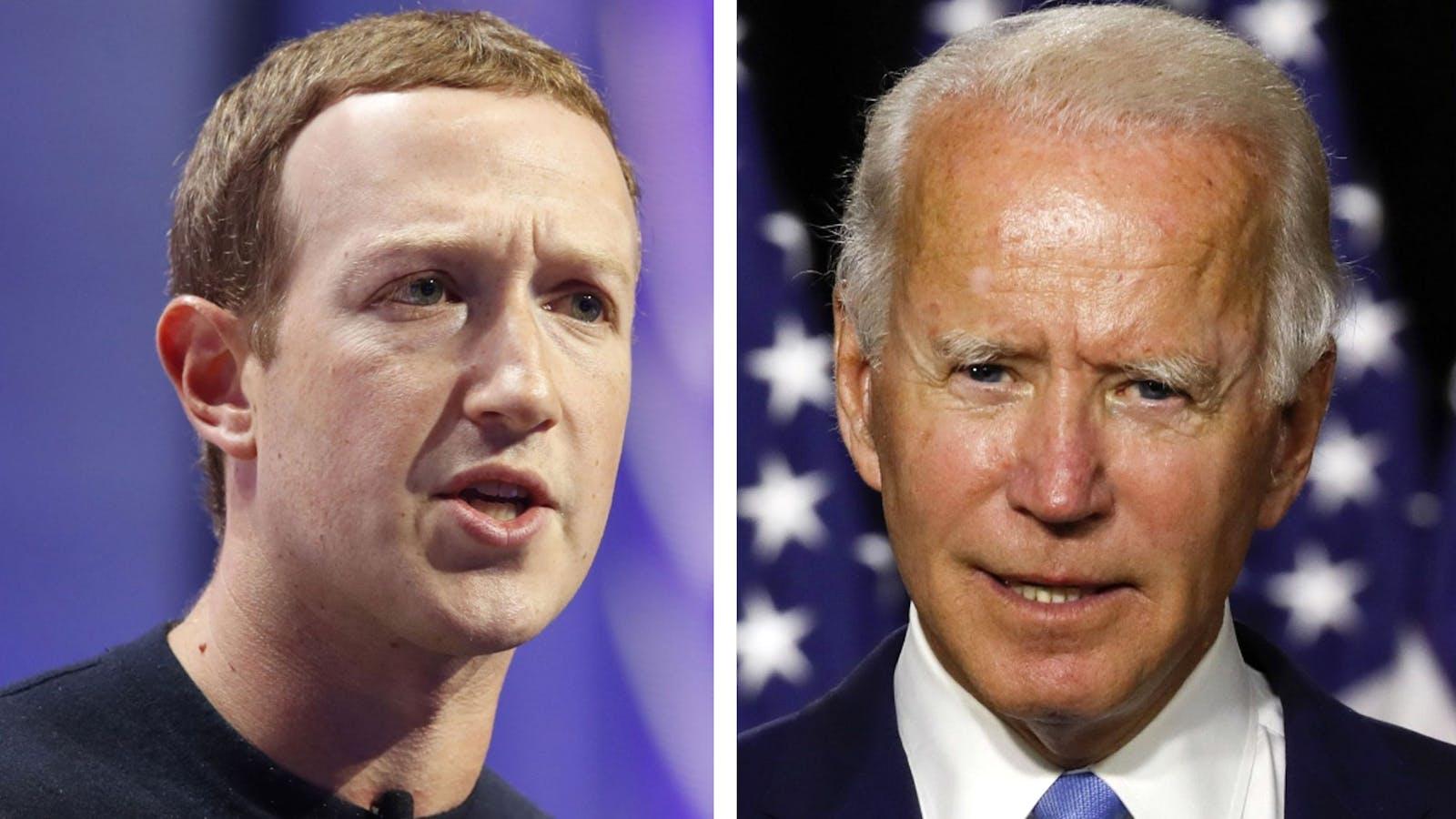 Mark Zuckerberg, left, and Joe Biden. Photos by Bloomberg