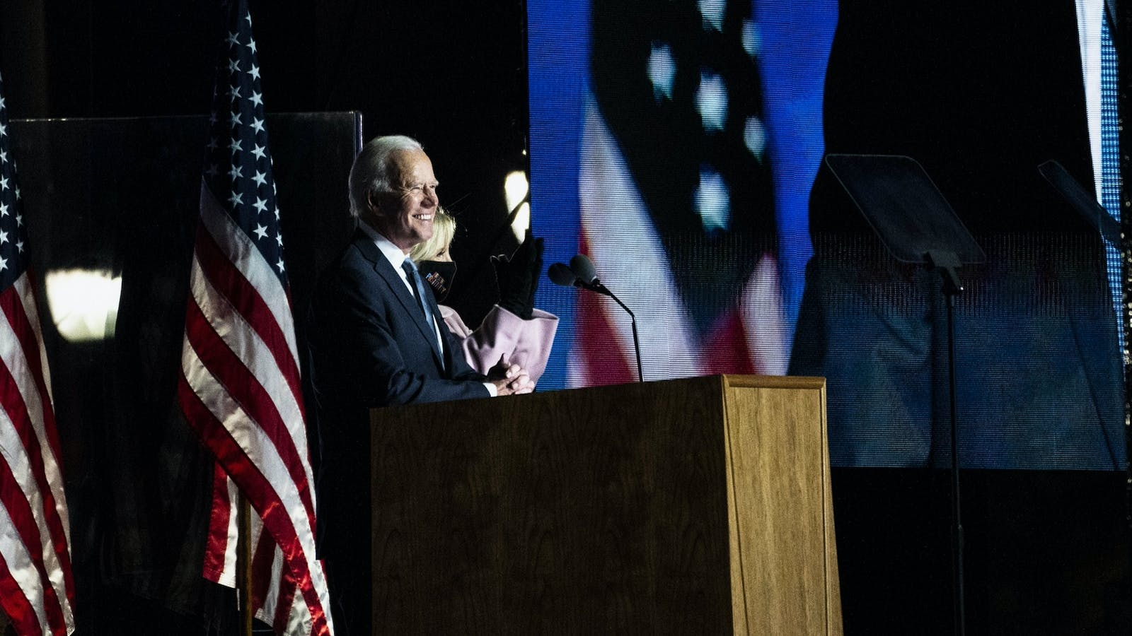 Democratic presidential nominee Joe Biden on Tuesday night in Delaware. Photo by Bloomberg