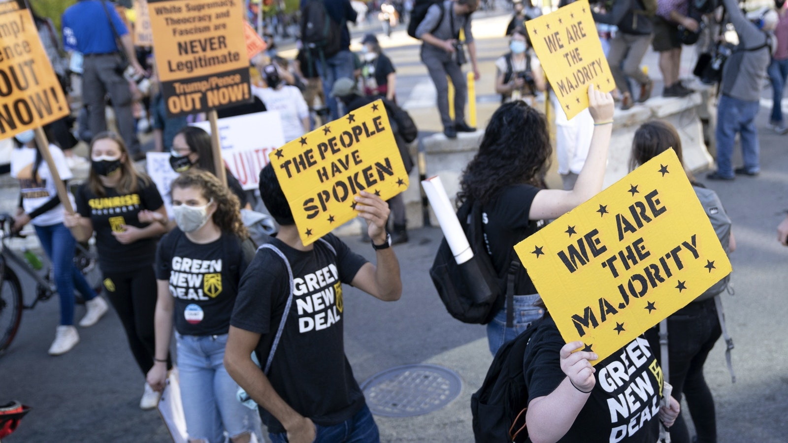 Election count demonstrators marching in Washington on Friday. Photo by Bloomberg.