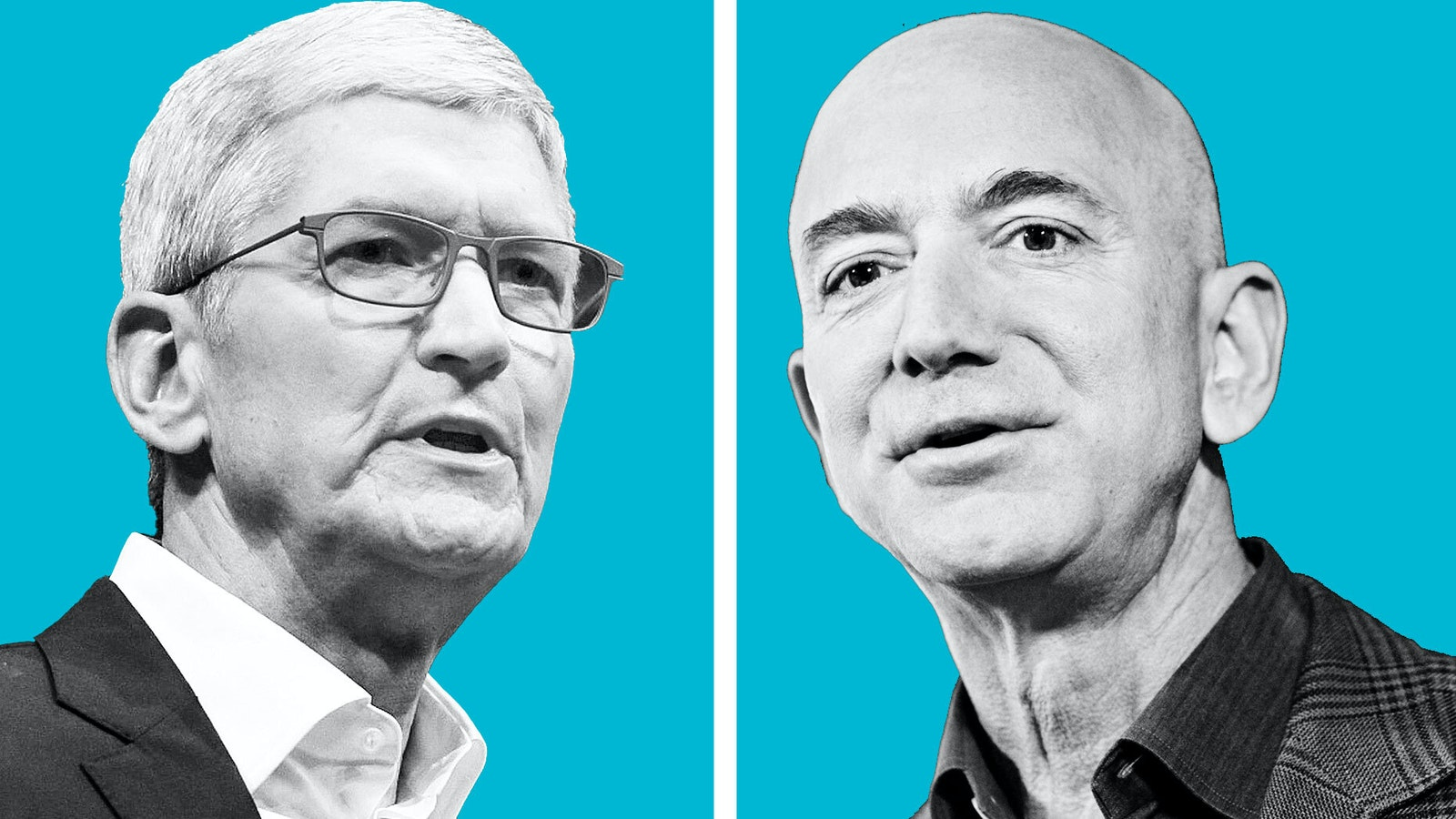 Apple's Tim Cook  and Amazon's Jeff Bezos. Photo by Bloomberg