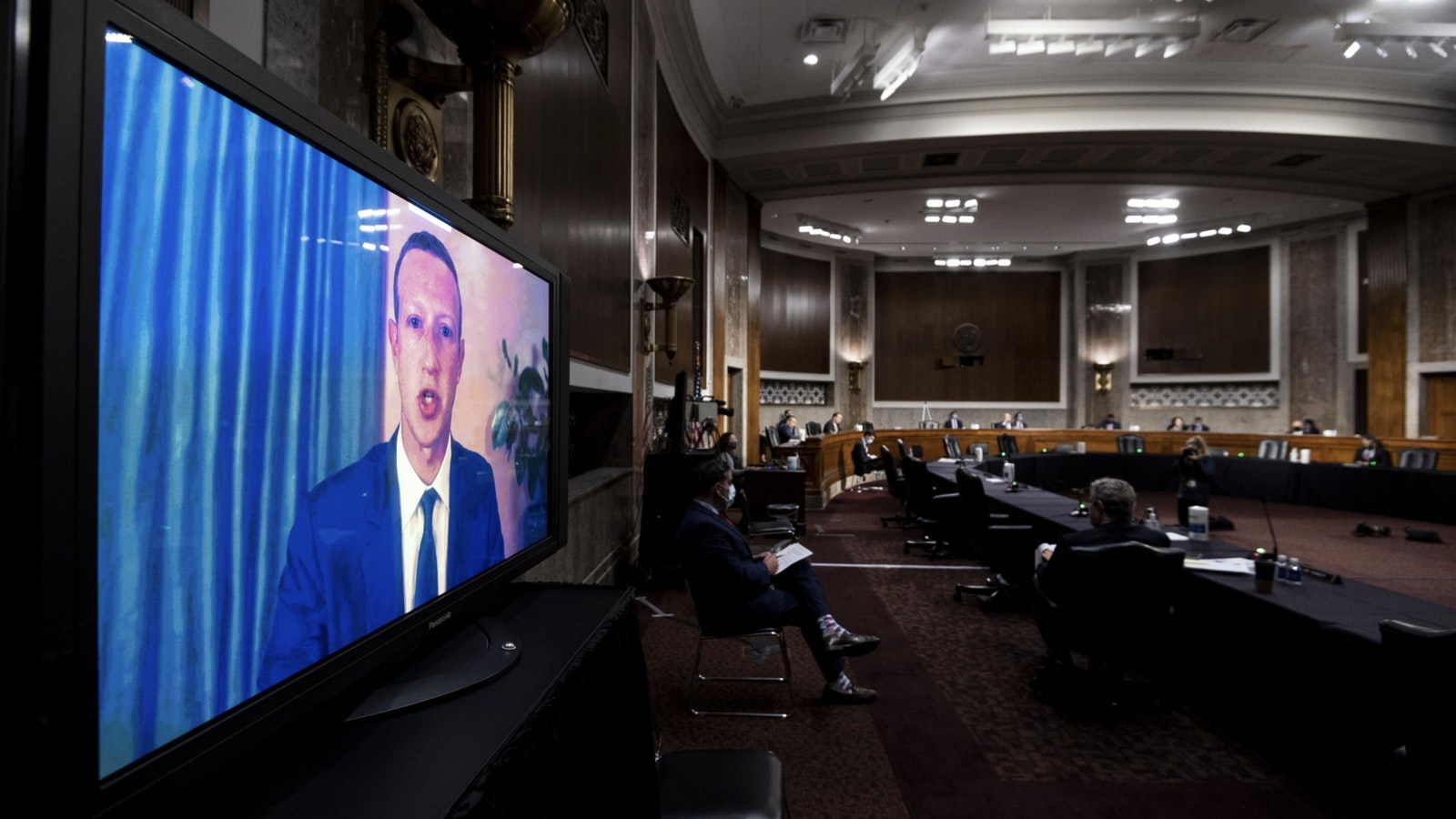 Facebook CEO Mark Zuckerberg appearing at the Judiciary Committee hearing today. Photo by Bloomberg.