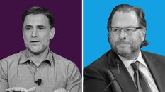 Slack CEO Stewart Butterfield (left) and Salesforce CEO Marc Benioff. Photos by Bloomberg