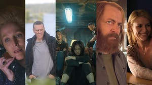 Still images from The Crown (left), Bordertown, The Boys, Devs and Homeland. Photos provided by Netflix, Amazon, FX and Showtime