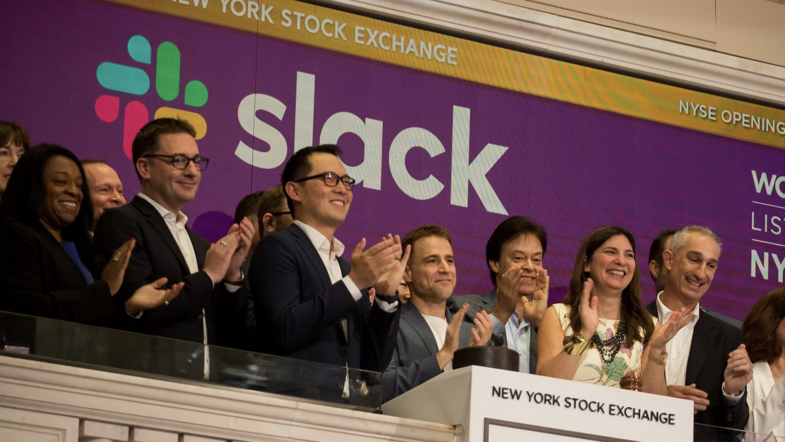 Slack's top executives the day the company went public. Photo by Bloomberg.