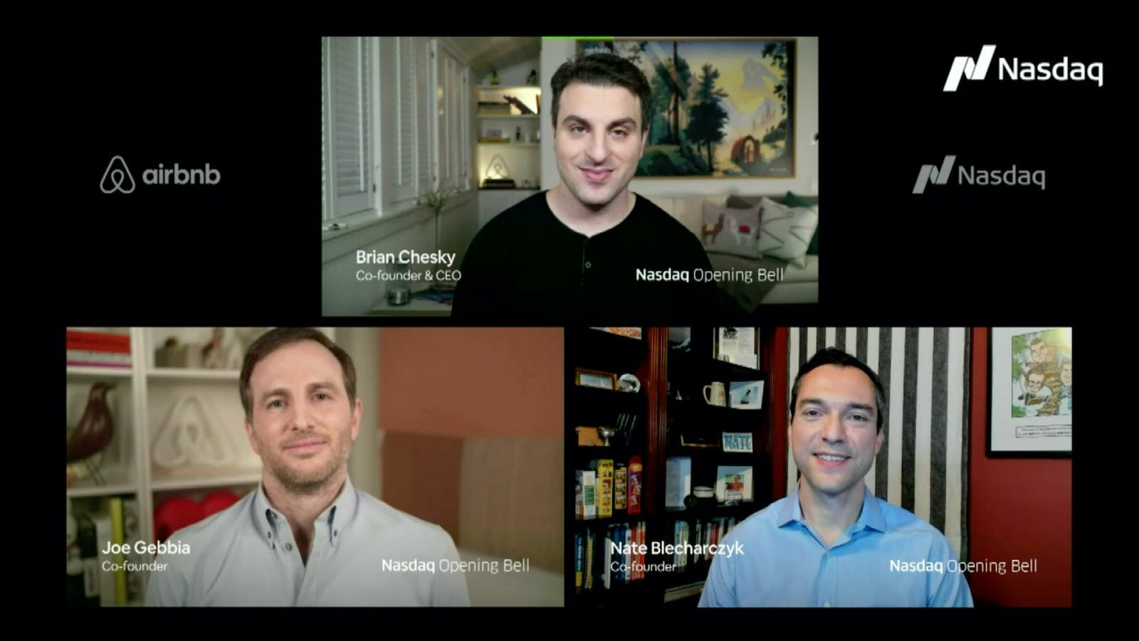 Airbnb co-founders Joe Gebbia, Brian Chesky and Nathan Blecharczyk, shown on Dec. 10, the day Airbnb shares began trading on Nasdaq. Image: Airbnb