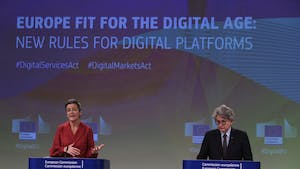 Margrethe Vestager, competition commissioner of the European Commission with Thierry Breton, industry commissioner of the European Union, on Tuesday. Photo by Bloomberg