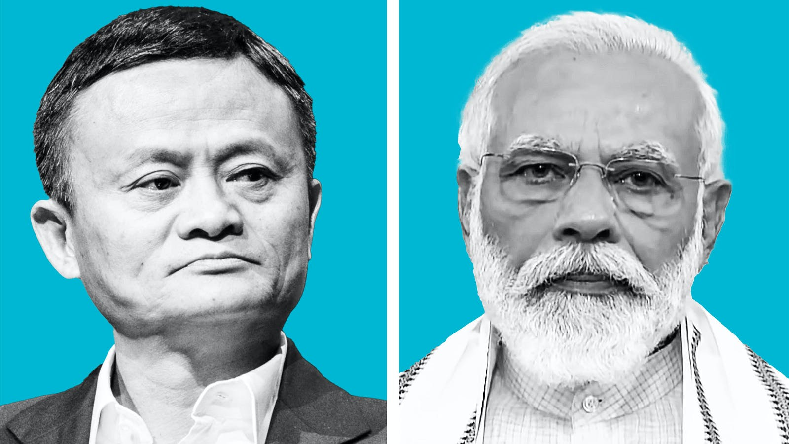 Alibaba's Jack Ma and Indian prime minister Narendra Modi. Photos by Bloomberg and AP