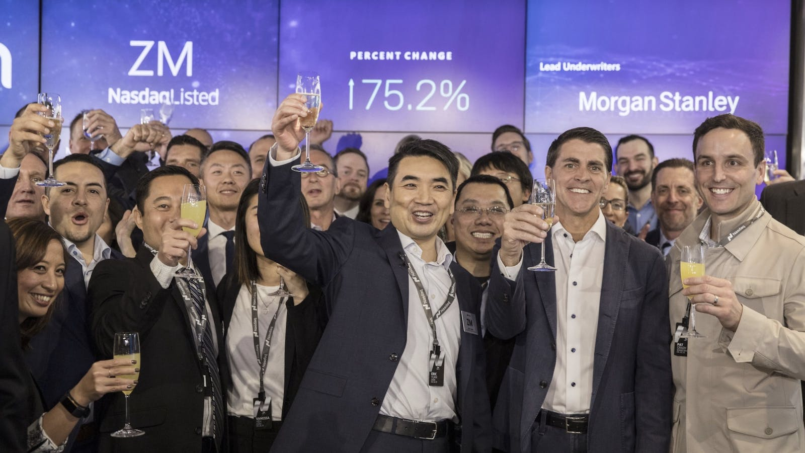 Zoom CEO Eric Yuan and others celebrate the day Zoom went public, in April 2019. Photo by Bloomberg