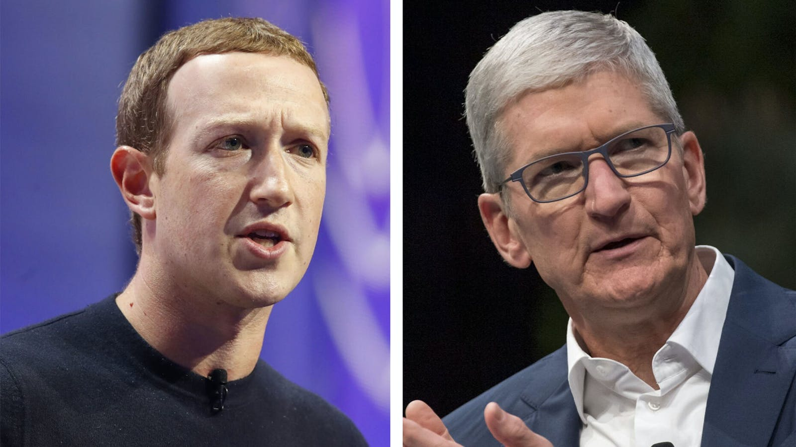 Facebook CEO Mark Zuckerberg (l) and Apple CEO Tim Cook (r). Photo: Bloomberg