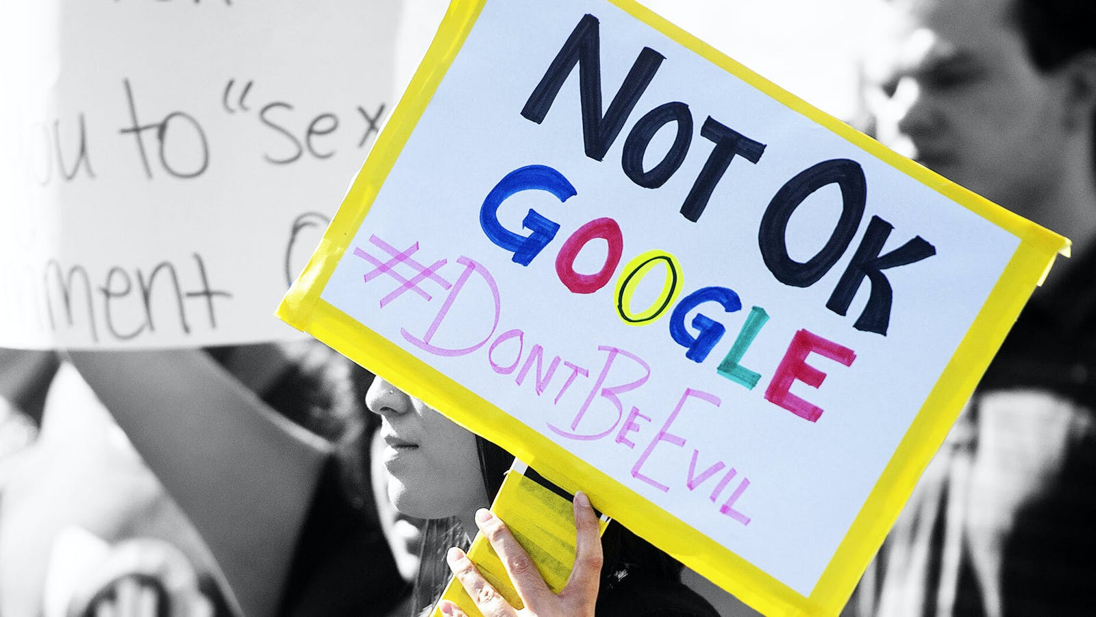 A Google worker protest in 2018. Photo by AP