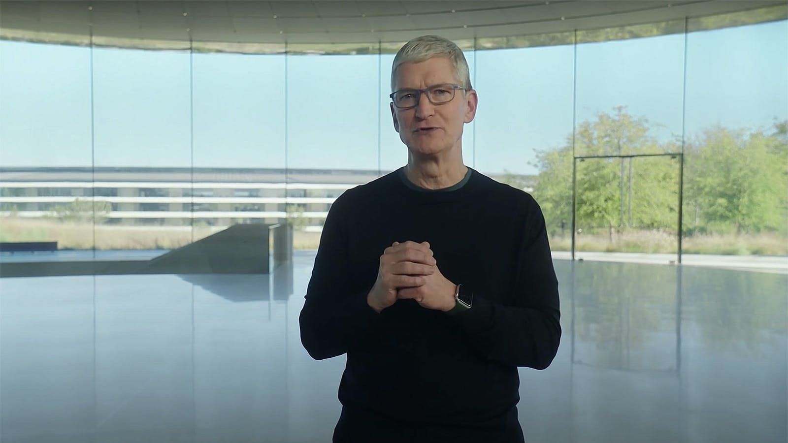 Apple CEO Tim Cook announces new products last October. Screenshot of Apple event via YouTube