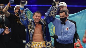 Gennady Golovkin celebrates his victory over Kamil Szeremeta during a middleweight title fight in December. Photo by AP