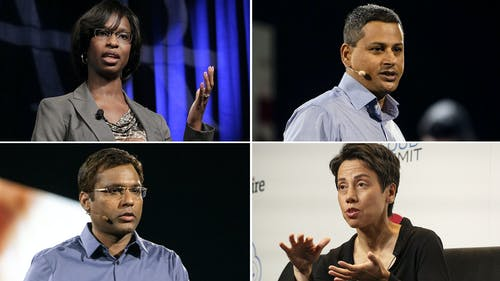 Clockwise from top-left: Alicia Boler Davis, Dilip Kumar, Mai-Lan Tomsen Bukovec and Rohit Prasad. Photos by Bloomberg
