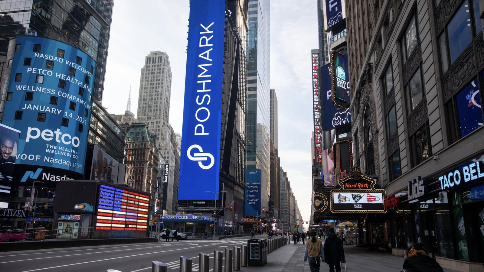 Poshmark material at the Nasdaq in New York the day of its IPO last month. Photo by Bloomberg