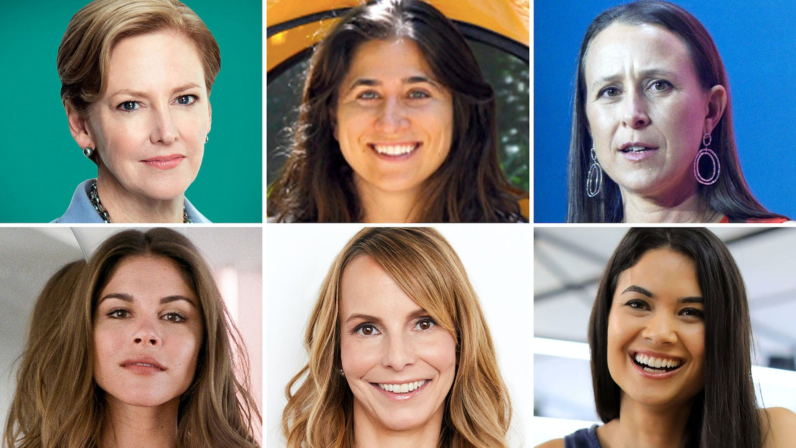 Clockwise from top-left: Ellen Kullman, Alyssa Ravasio, Anne Wojcicki, Melanie Perkins, Heidi Zak and Emily Weiss. Photo of Anne Wojcicki by Bloomberg; all others provided by subject.