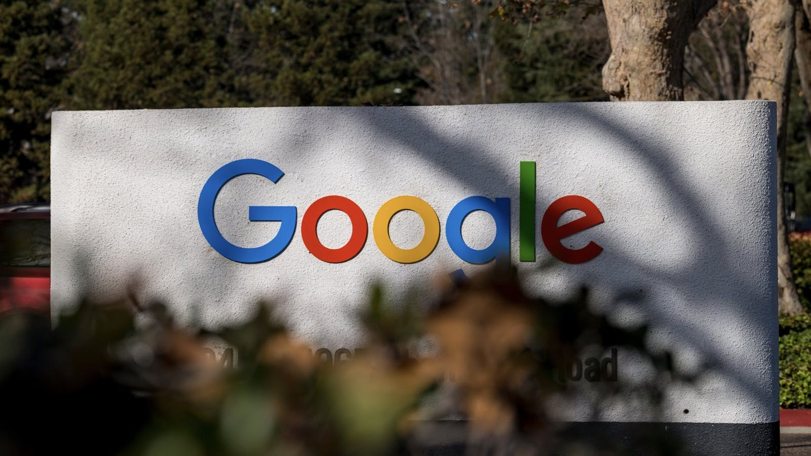 A sign at Google's Mountain View campus. Photo by Bloomberg.
