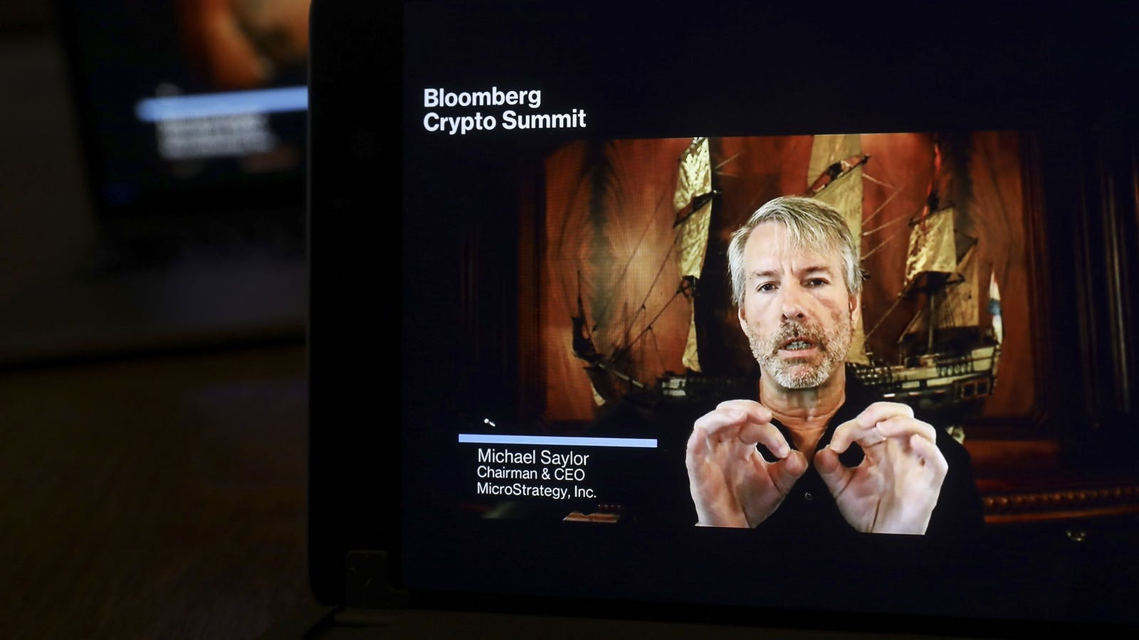 Microstrategy CEO Michael Saylor appearing virtually at a recent crypto conference. Photo by Bloomberg.