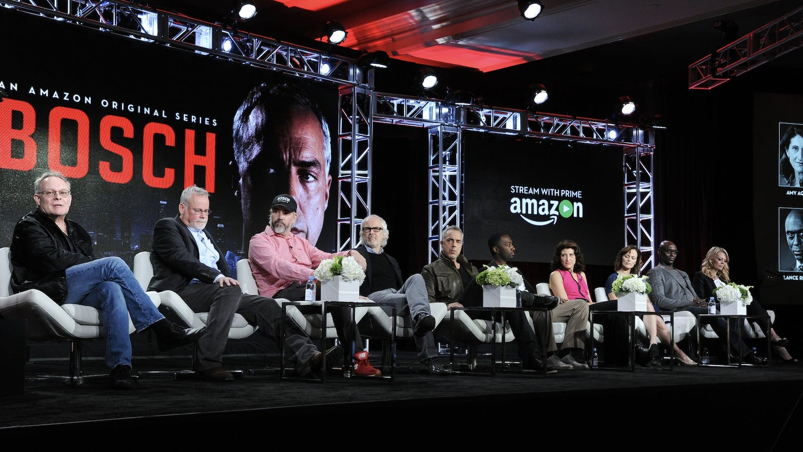 """Producers and top cast members of Amazon's """"Bosch"""" speaking with the press in 2016. Photo by AP"""