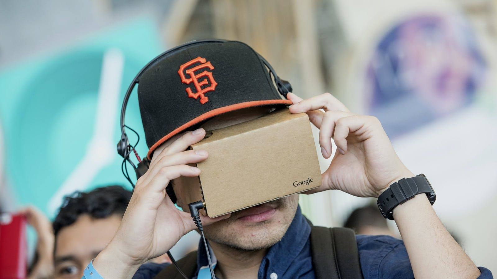 A Google Cardboard VR viewer in 2015. Photo by Bloomberg