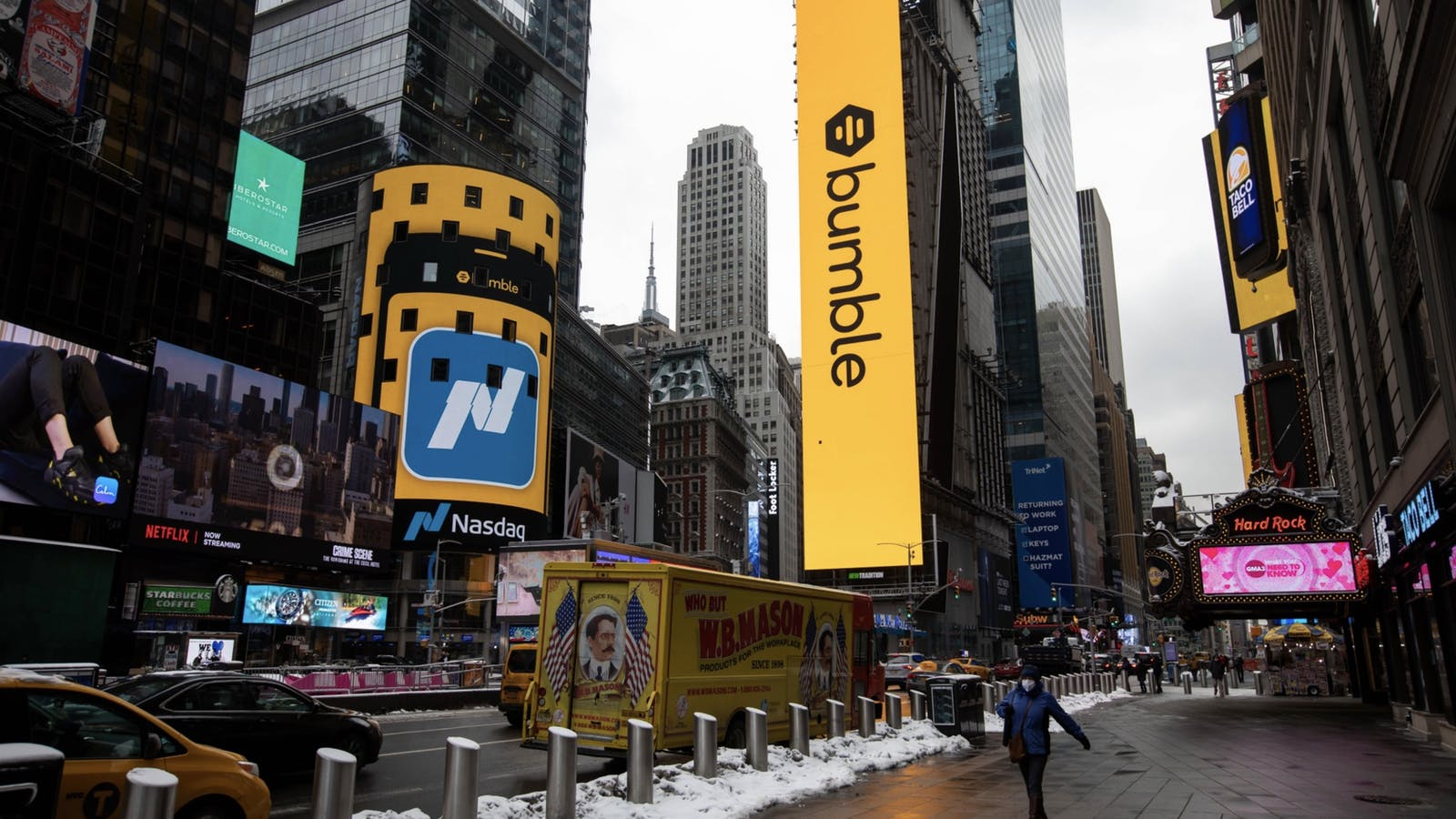 Signage for Bumble's IPO at the Nasdaq market in February. Photo by Bloomberg.