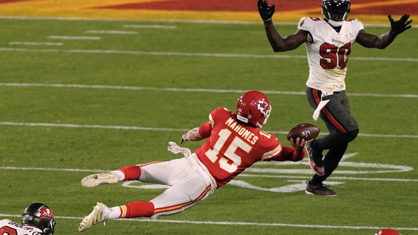 Kansas City Chiefs playing Tampa Bay Buccaneers during the Super Bowl  last month. Photo by AP.