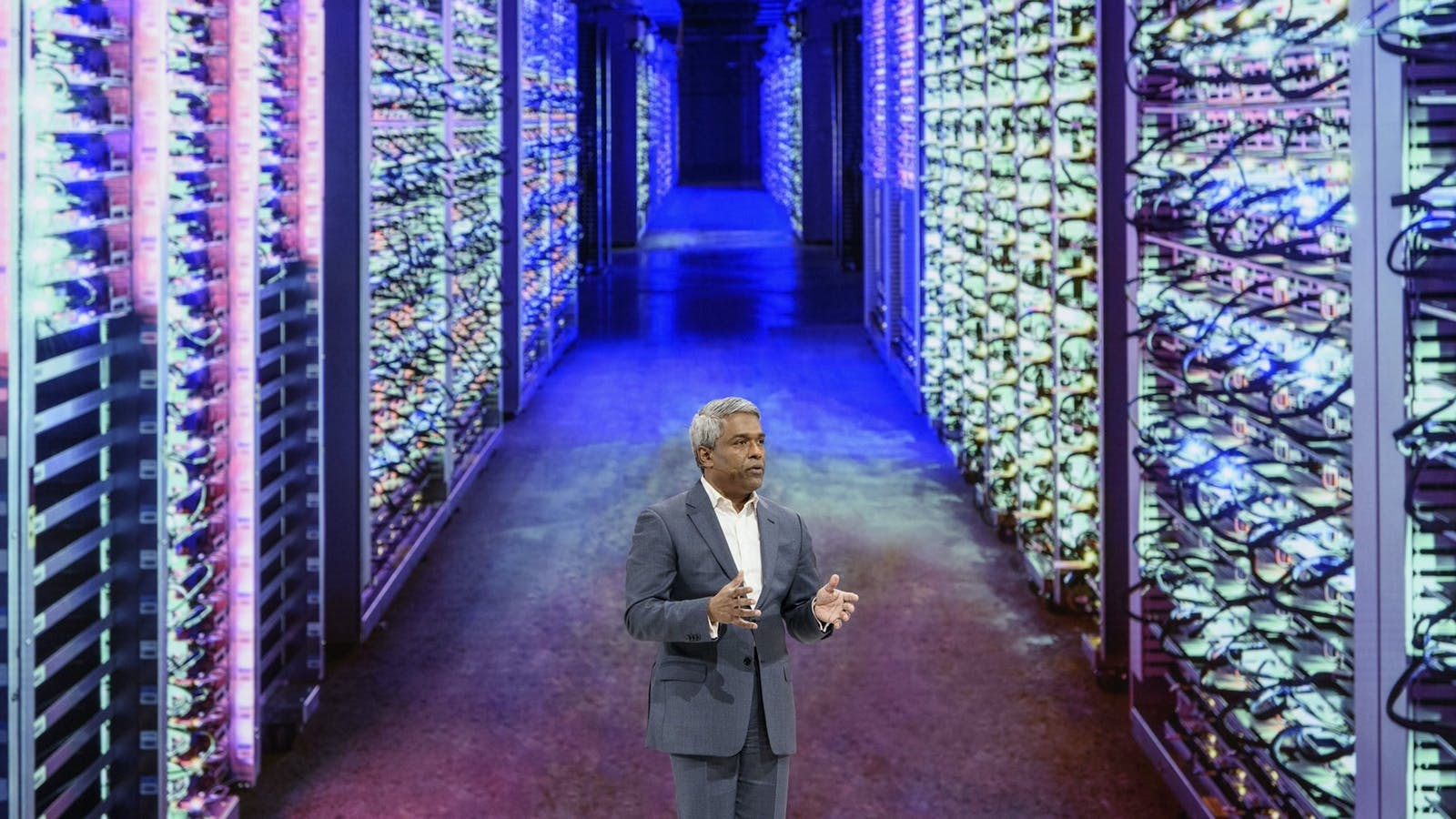 Google Cloud CEO Thomas Kurian at an event in 2019. Photo by Bloomberg