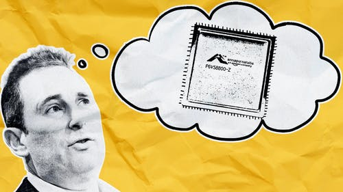 Photo of AWS CEO Andy Jassy by Bloomberg. Illustration by Mike Sullivan