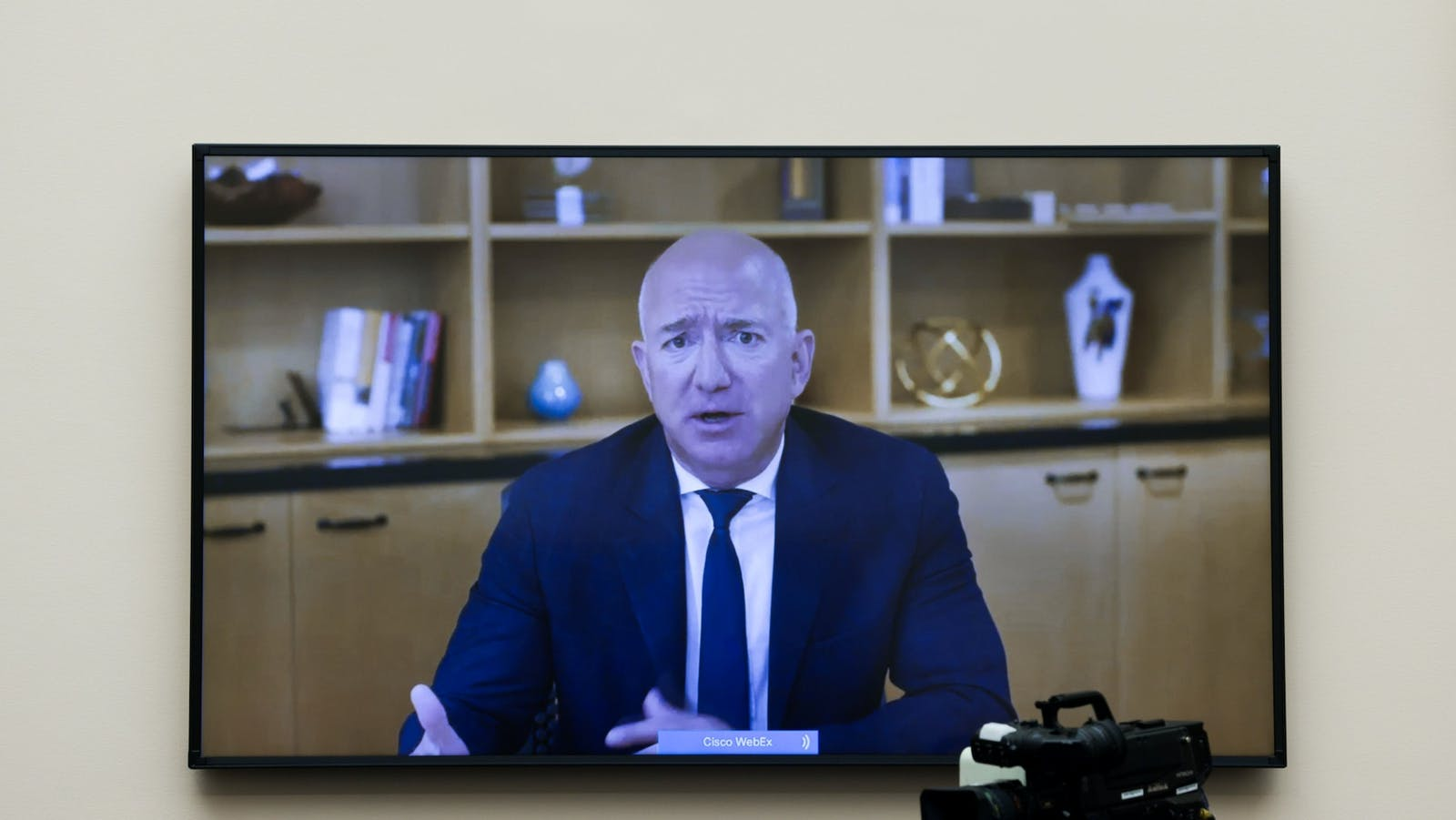 Amazon CEO Jeff Bezos speaks via videoconference at a House hearing last June. Photo by Bloomberg