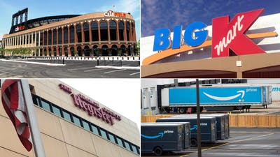 Clockwise from top-left: A parking lot at Citi Field, Photo by chrisswann26/ Flickr; A Kmart sign; photo by JeepersMedia/ Flickr; Amazon trailers parked outside of an Amazon delivery station in Newark, photo by Bloomberg; the former Orange County Register building in Santa Ana, photo by ksablan/ Flickr.