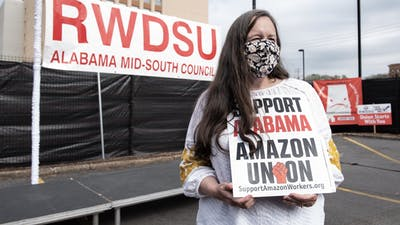 A union official involved in the Amazon campaign in Alabama. Photo by Bloomberg.