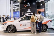 A Didi Chuxing autonomous car on display in 2019. Photo by Bloomberg.