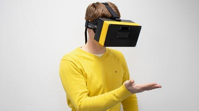 A prototype of a CREAL virtual reality headset. Photo provided by CREAL