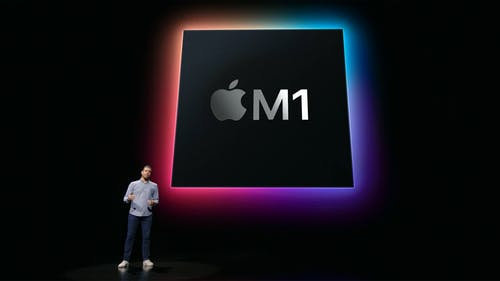 Apple's Raja Bose discusses Apple's M1 chip at the company's spring event on Tuesday. Screenshot via Apple.com
