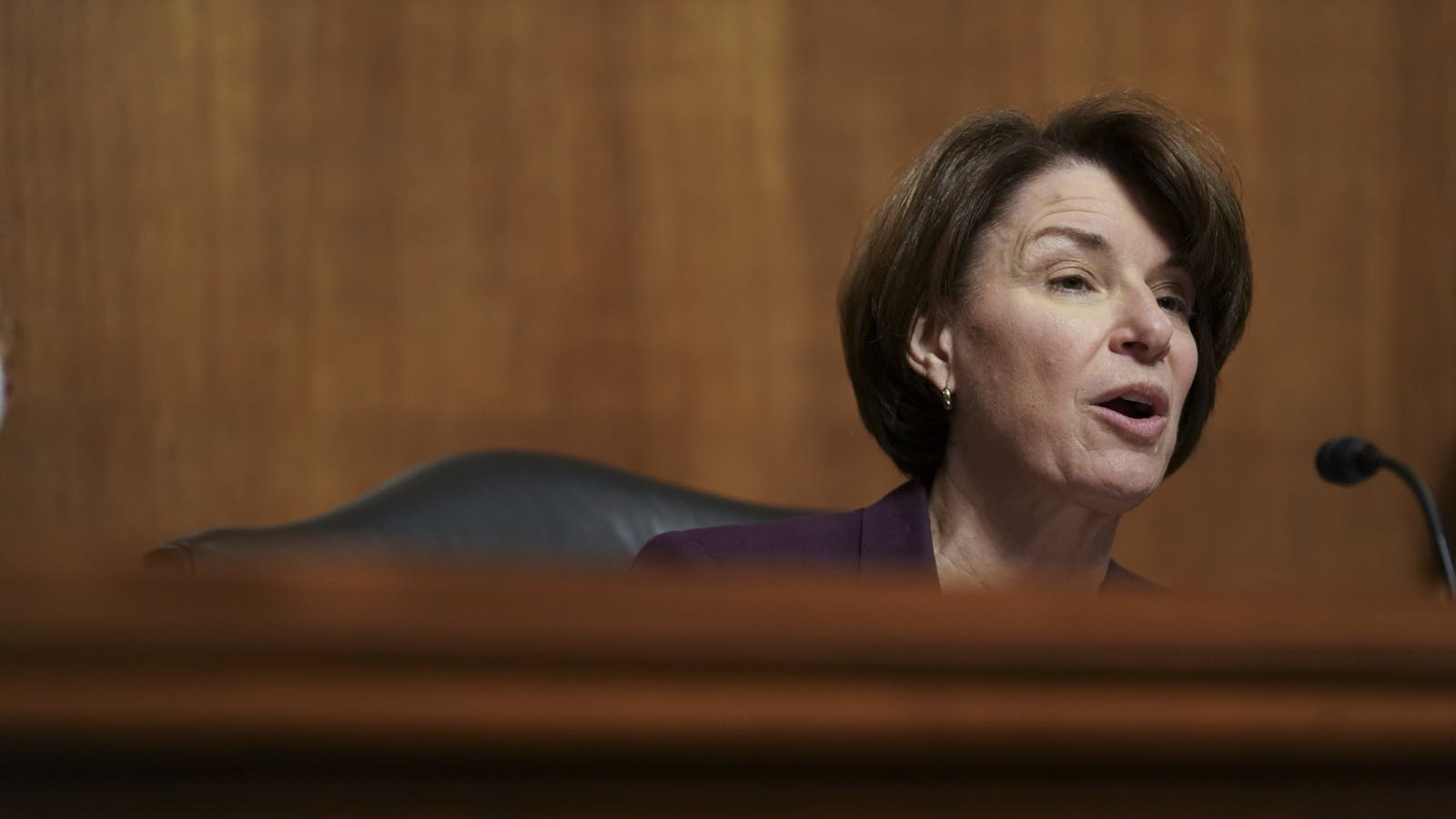 Sen. Amy Klobuchar at today's hearing. Photo by Bloomberg